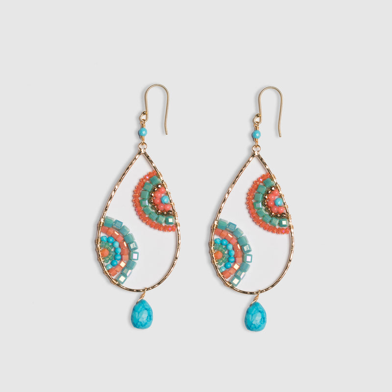 CRESCENT EARRINGS IN CORAL & TURQUOISE