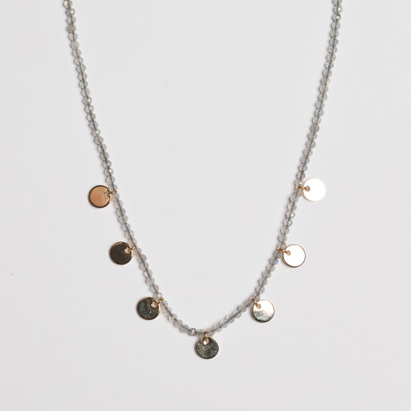LABRADORITE SHORT DISC NECKLACE