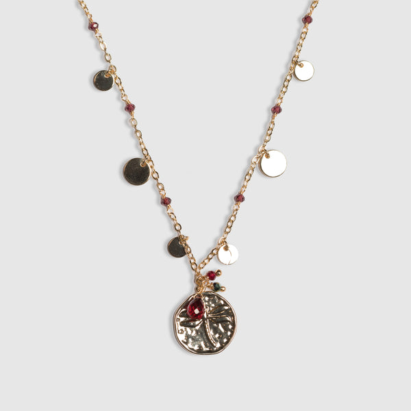 GARNET SHORT DISC NECKLACE
