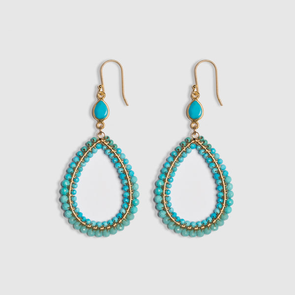 TURQUOISE BLOCK WRAPPED EARRING