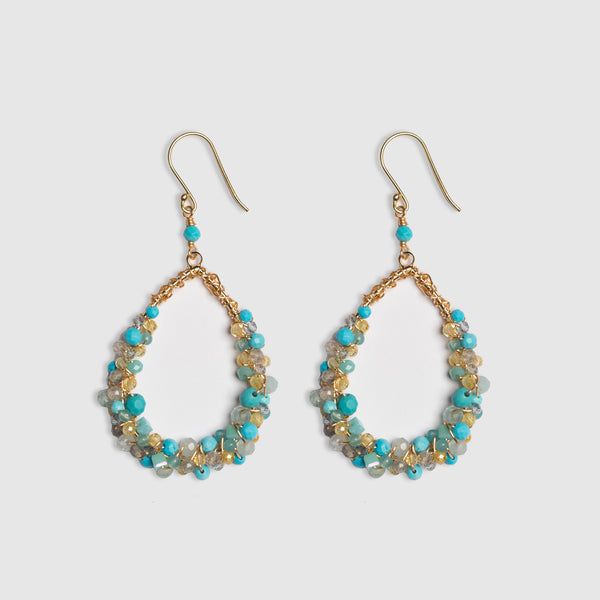 MEDIUM MESSY CLUSTER TURQUOISE EARRING