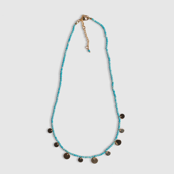 SHORT TURQUOISE DISC NECKLACE