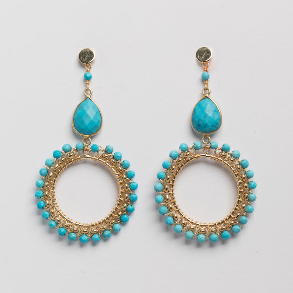 TURQUOISE ROLO CHAIN WRAP EARRING