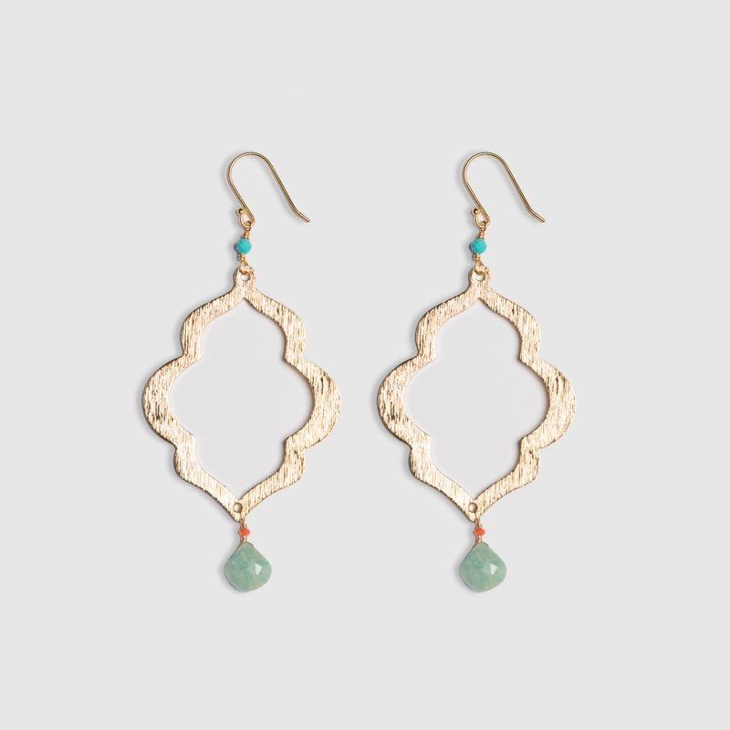 LANTERN EARRING WITH AMAZONITE BRIOLETTE