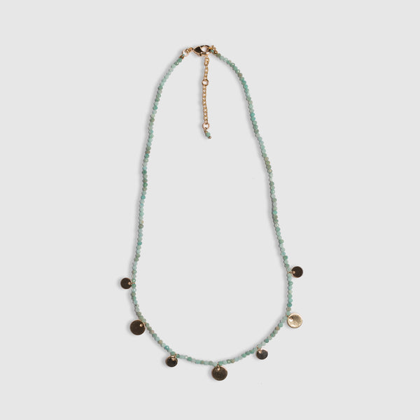 SHORT AMAZONITE DISC NECKLACE