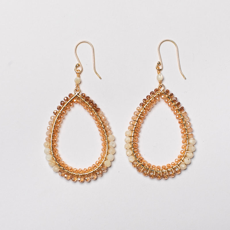 DOUBLE BLOCK WRAPPED CHAMPAGNE EARRING