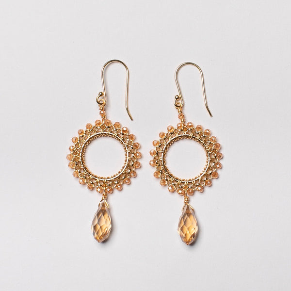 SMALL ROUND ROLO EARRING CHAMPAGNE