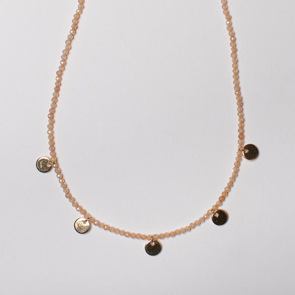 SHORT CHAMPAGNE QUARTZ NECKLACE WITH DISKS