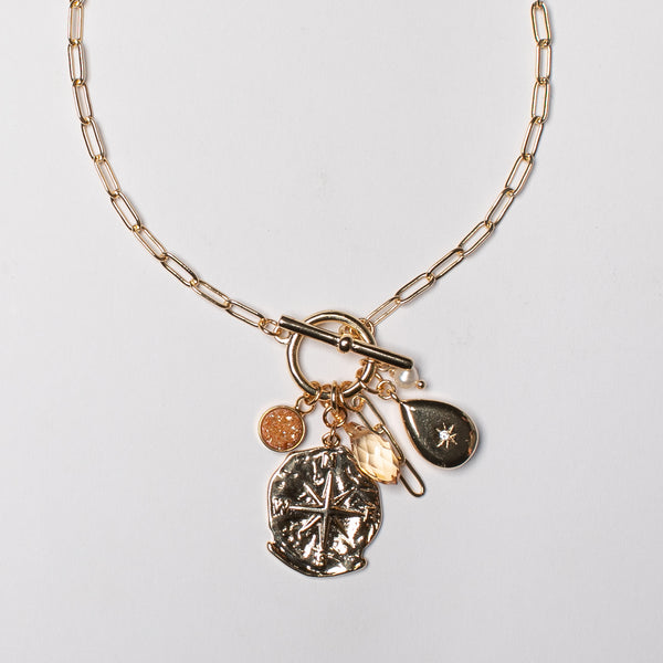 SHORT BOX CHAIN NECKLACE WITH FOB AND CHARMS
