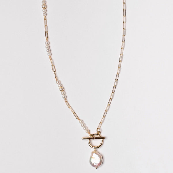 STAGGERED PEARL BOX CHAIN NECKLACE