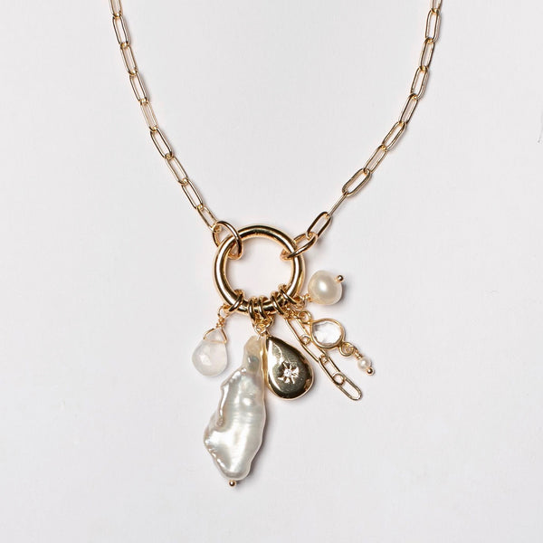 LONG CHUNKY PEARL AND CHARM NECKLACE
