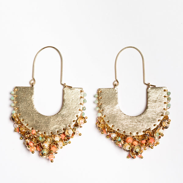 GODDESS EARRINGS IN CORALS