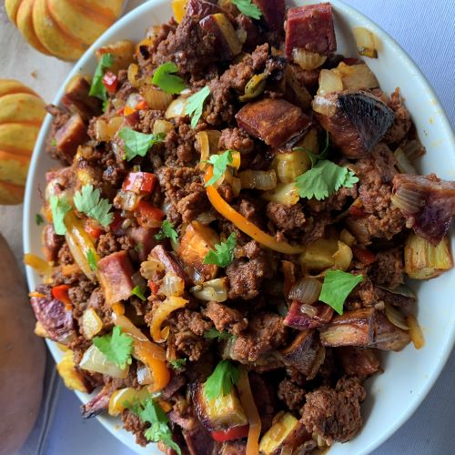 Chorizo Sweet Potato Hash Skillet