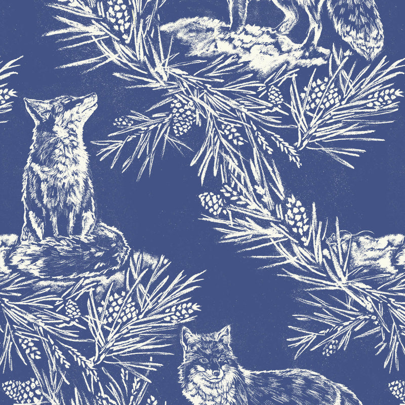 Fox in The Snow Storm Blue Wallpaper