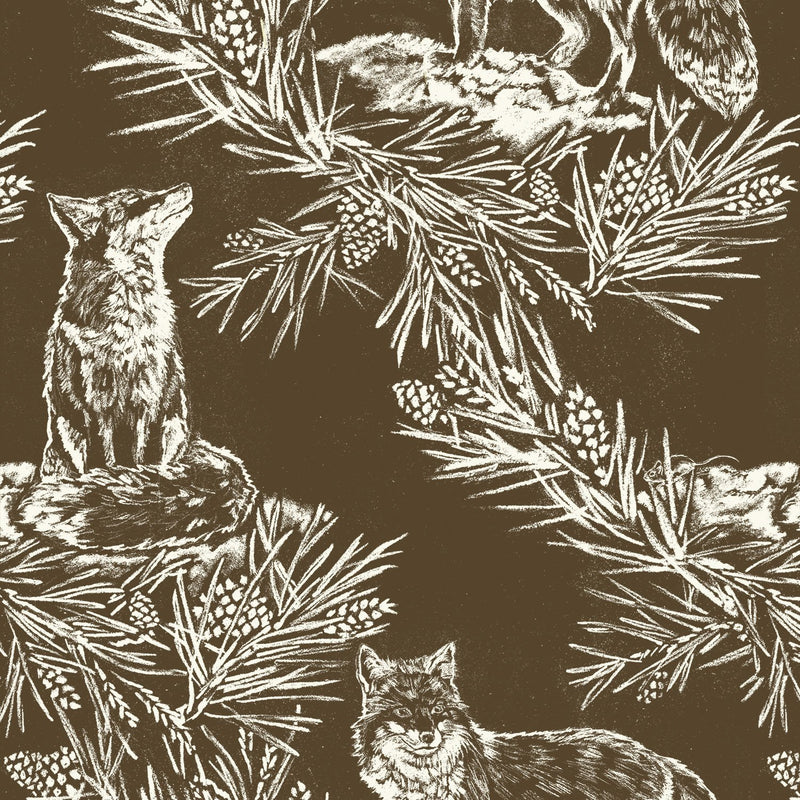 Fox in The Snow Umber Wallpaper