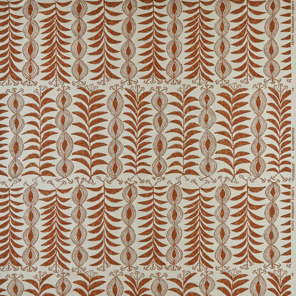 Penny-Morrison-Fabric-Zanzibar-tobacco-abstract-floral-geometric-orange-brown-quirky-unique