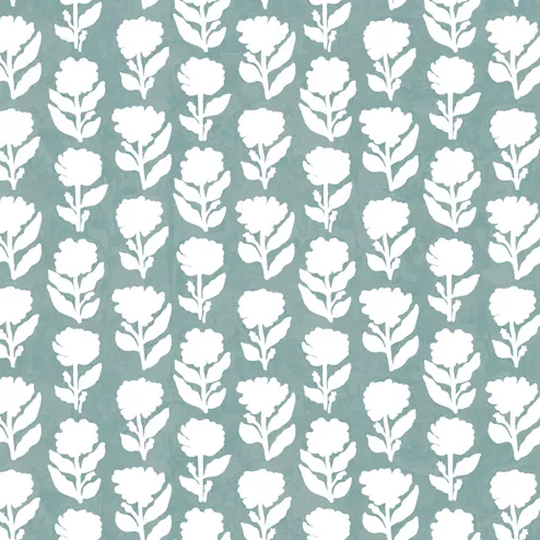 Marigold Teal Wallpaper