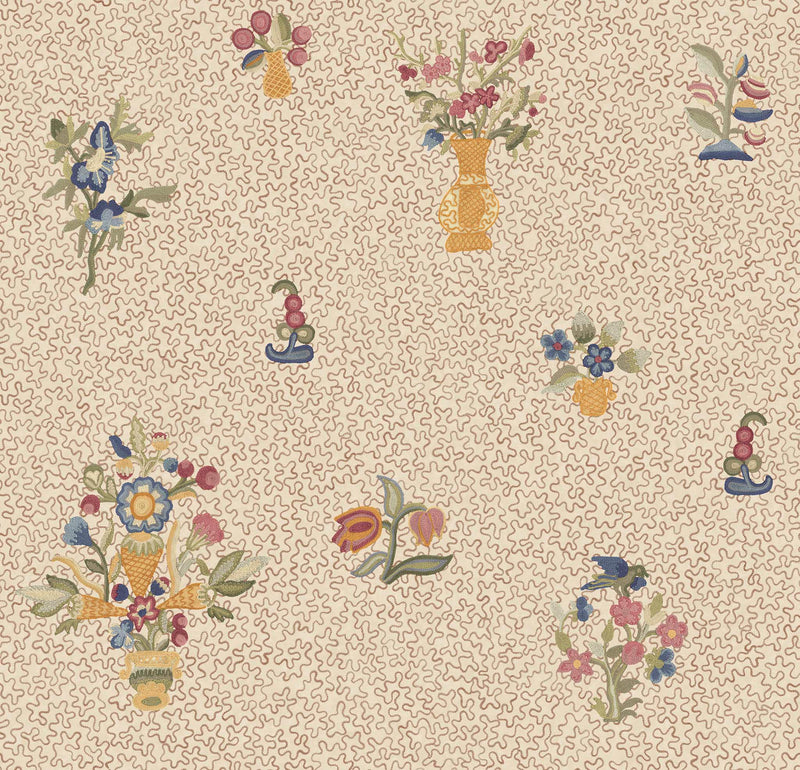 Queen Anne Squiggle Fine Textured Grasscloth Mustard Wallpaper