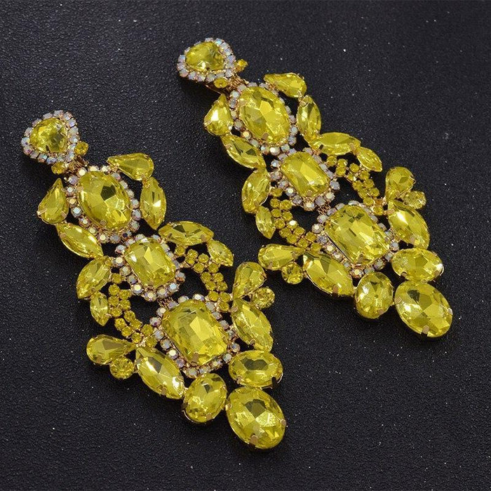 Drag-Clip-on Earrings - Sofia-Yellow-