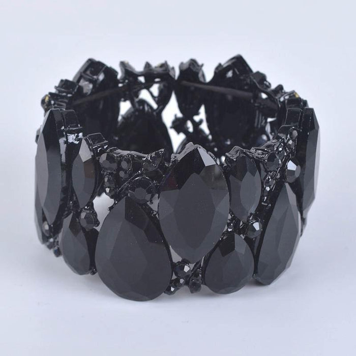 Drag-Crystal Cuff Bracelet - Emma-Black-Pair-The Drag Room