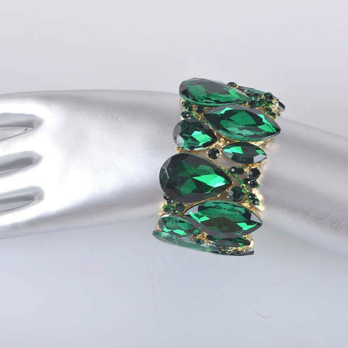 Drag-Crystal Cuff Bracelet - Emma-Green-Pair-The Drag Room