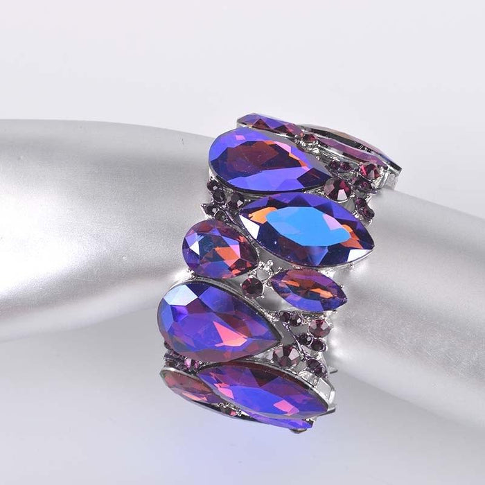 Drag-Crystal Cuff Bracelet - Emma-Purple-Pair-The Drag Room