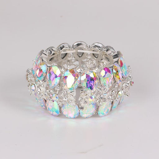 Drag-Crystal Cuff Bracelet - Victoria-Single-AB Crystal-