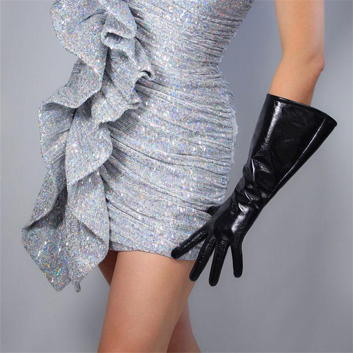 Drag-Drag Gloves - Warrior-Black-Real Patent Leather