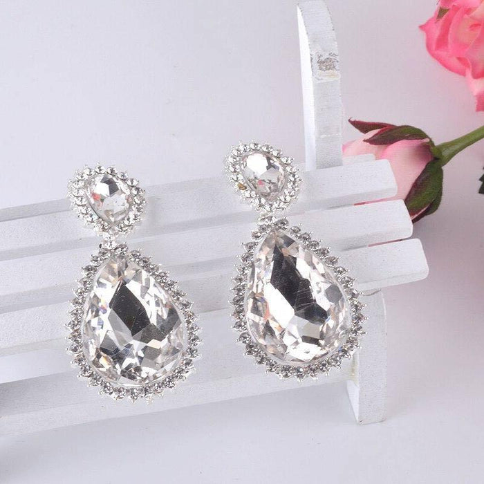 Drag-Drop Earrings - Dreamer-Clear Crystal-