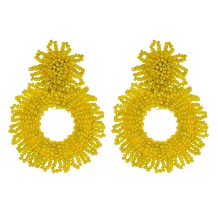 Drag-Earrings - Bede-Yellow-