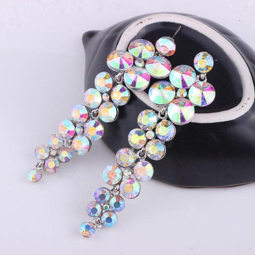 Drag-Earrings - Davina-AB Crystal-