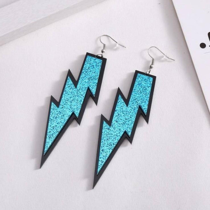 Drag-Earrings - Lightning Glitz-Blue-The Drag Room