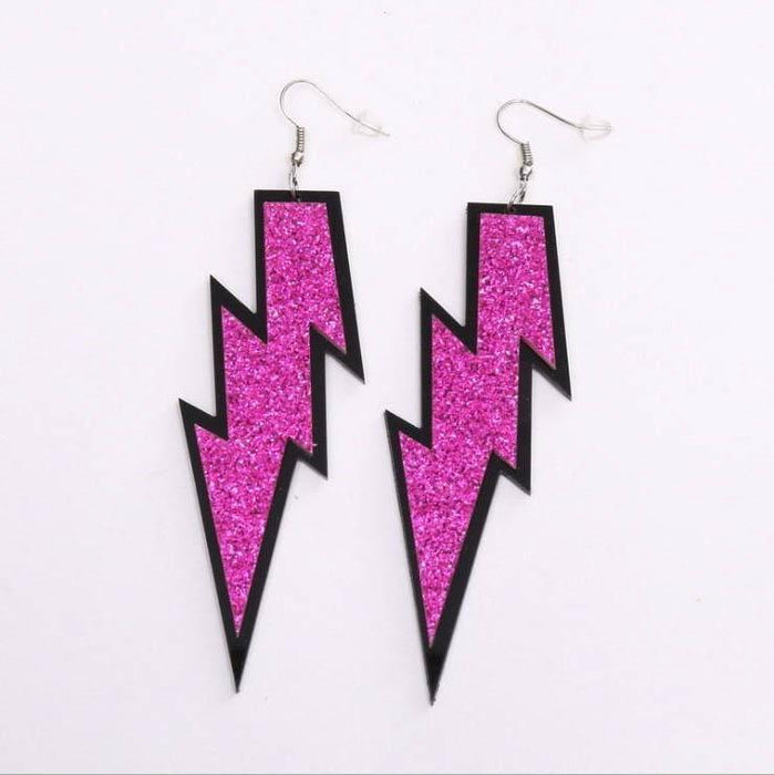 Drag-Earrings - Lightning Glitz-Fuchsia-The Drag Room