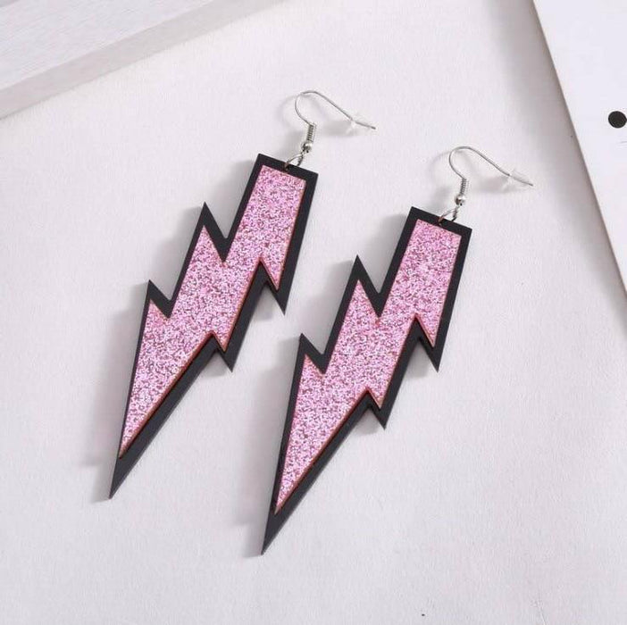Drag-Earrings - Lightning Glitz-Pink-The Drag Room