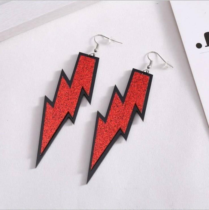 Drag-Earrings - Lightning Glitz-Red-The Drag Room