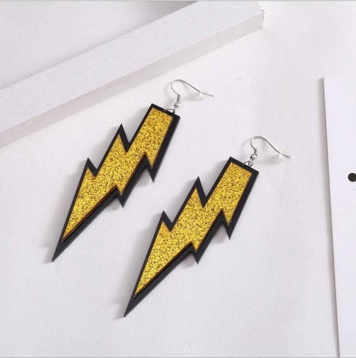 Drag-Earrings - Lightning Glitz-Yellow-The Drag Room