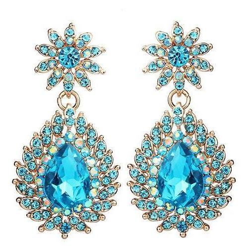 Drag-Earrings - Penny-Light Blue-