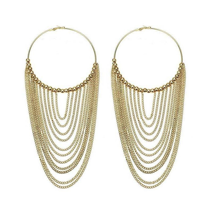 Drag-Hoop & Chain Earrings - Scarlett-The Drag Room