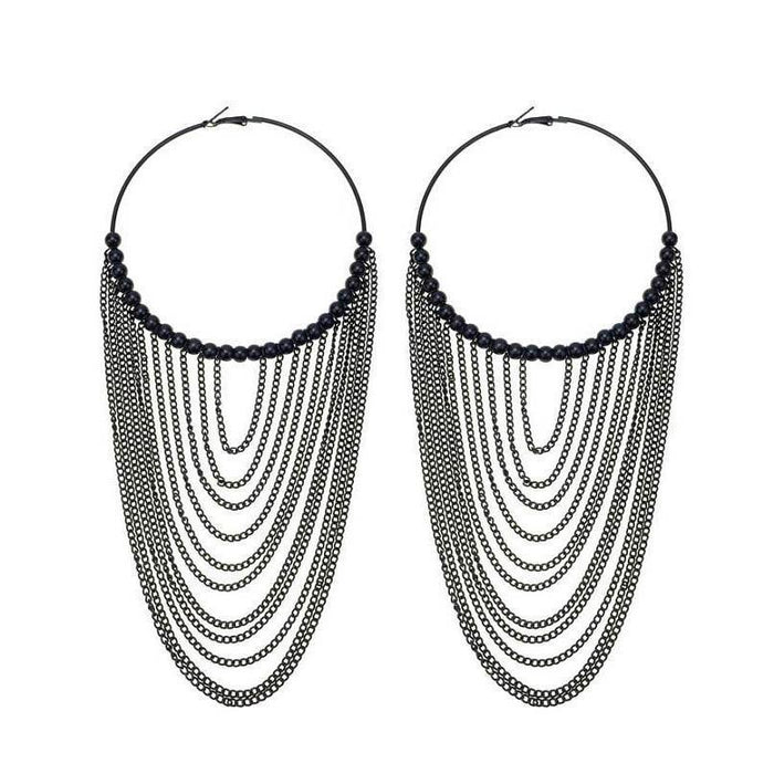 Drag-Hoop & Chain Earrings - Scarlett-Black-The Drag Room