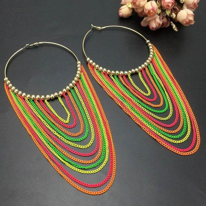Drag-Hoop & Chain Earrings - Scarlett-Multicolor-The Drag Room