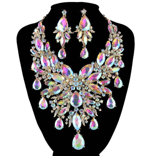 Drag-Necklace & Earring Set - Alinta-AB Crystal-