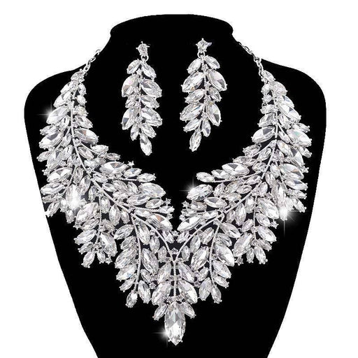Drag-Necklace & Earring Set - Elidi-Silver-