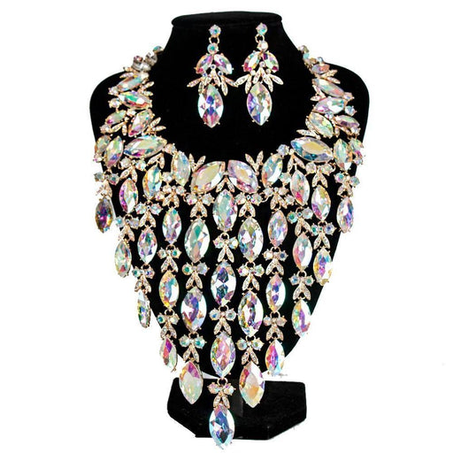 Drag-Necklace & Earring Set - Idalia-AB Crystal-Gold-