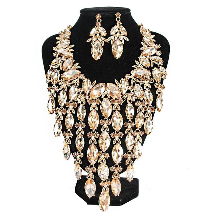 Drag-Necklace & Earring Set - Idalia-Champagne-Gold-