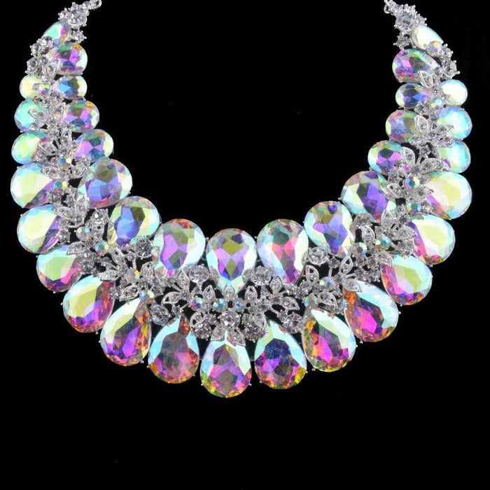 Drag-Necklace & Earring Set - Stella-AB Crystal-