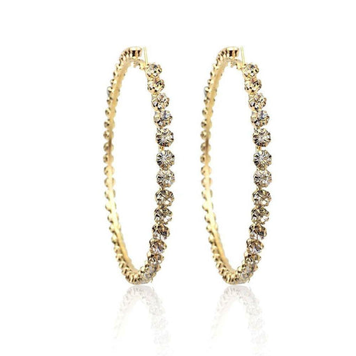 Drag-Rhinestone Hoop Earrings - Penelope-Gold-