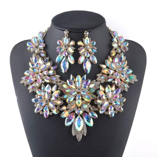 Drag-Statement Necklace - Malia-AB Crystal-