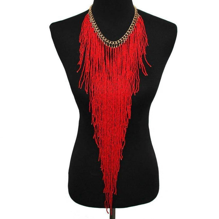 Drag-Statement Necklace - Samira-Red-