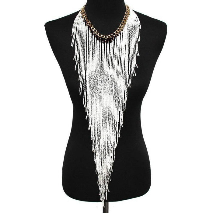 Drag-Statement Necklace - Samira-White-