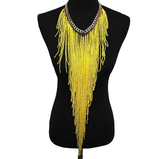 Drag-Statement Necklace - Samira-Yellow-